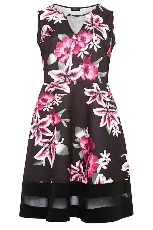 Black & Pink Lily Scuba Skater Dress