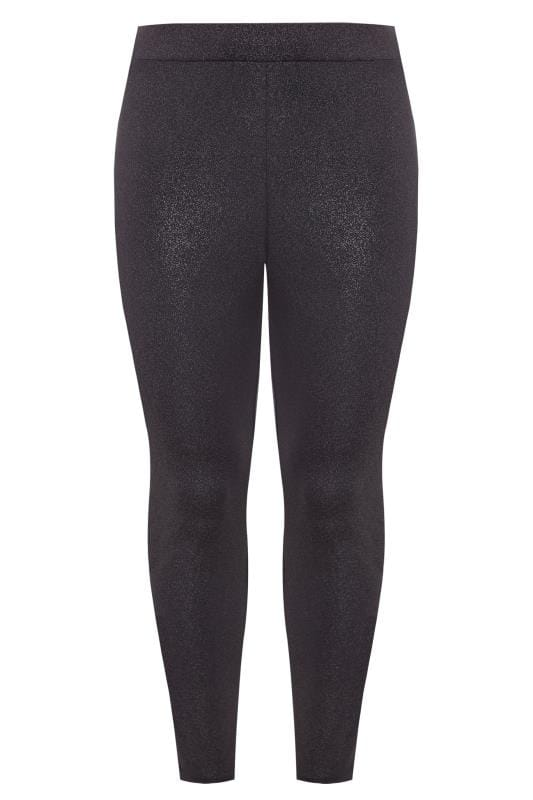 Plus Size Fashion Leggings Black & Pink Metallic Sparkle Leggings