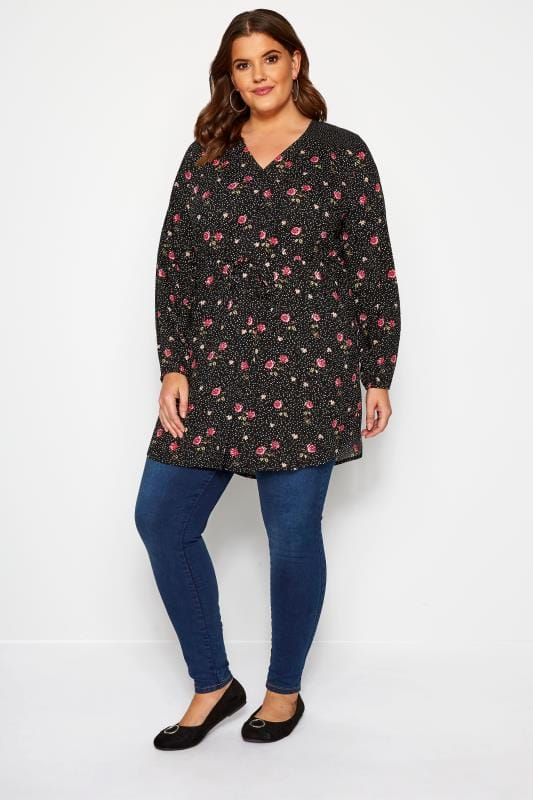 Black & Pink Mixed Floral & Spot Longline Blouse