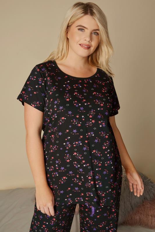 Black & Pink Star Print Pyjama Top
