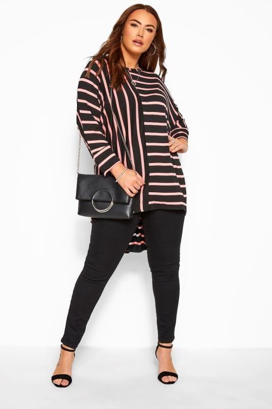 Black & Pink Stripe Extreme Dipped Hem Top