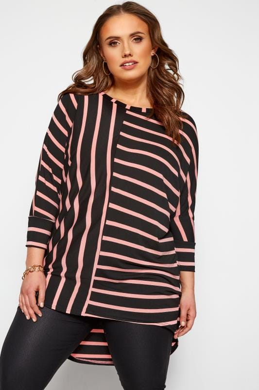 Plus Size Jersey Tops Black & Pink Stripe Extreme Dipped Hem Top