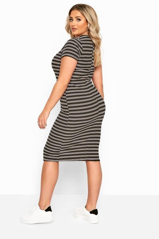 Black & Pink Stripe Ribbed Midi Dress