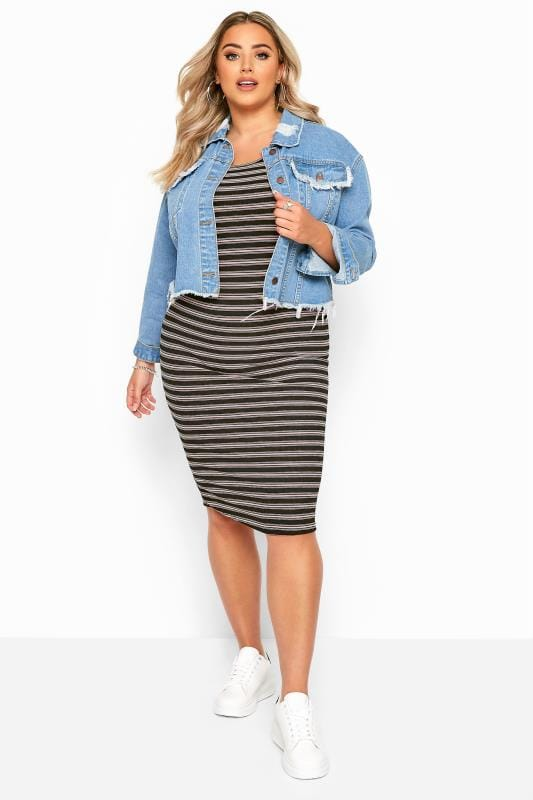 Plus Size Midi Dresses Black & Pink Stripe Ribbed Midi Dress