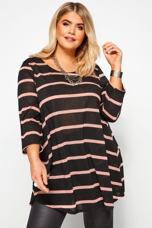 Große Größen Tuniken Tunika-Kleid mit Streifen-Muster - Schwarz/Pink
