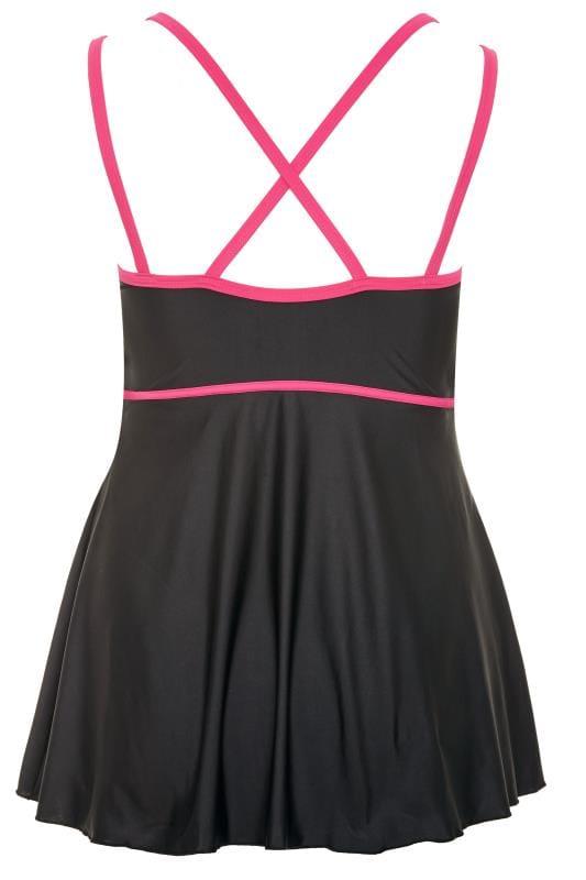 Black & Pink Trim Swim Dress