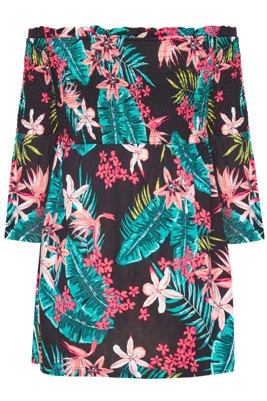 Black & Pink Tropical Floral Shirred Bardot Top