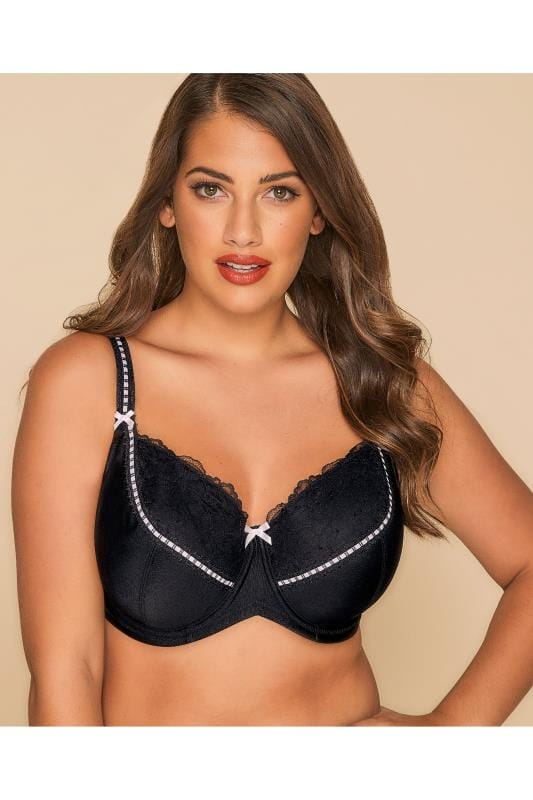 Plus Size Padded Bras Black & Pink Underwired Soft Padded Bra