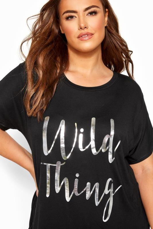 Black & Pink 'Wild Thing' Slogan Cropped Lounge Set