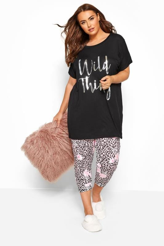 Plus-Größen Plus Size Loungewear Black & Pink 'Wild Thing' Slogan Cropped Lounge Set