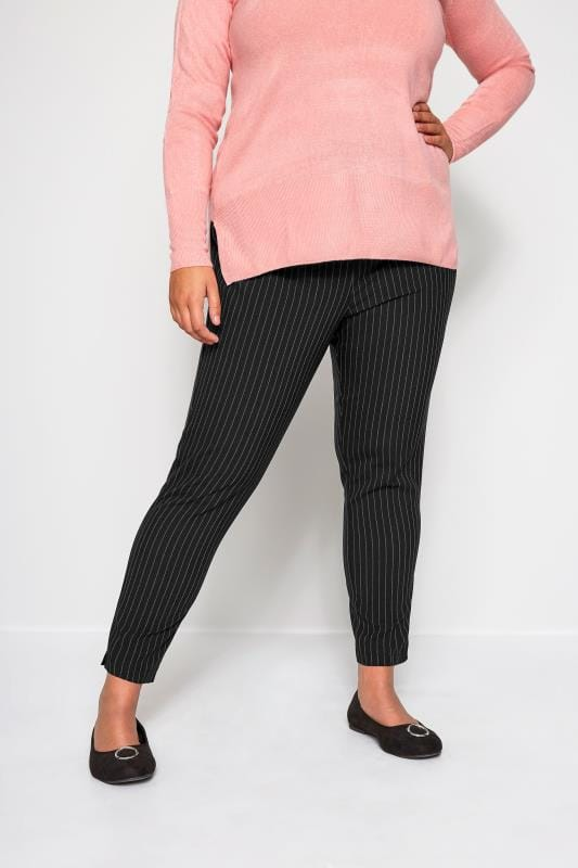 Plus Size Tapered & Slim Fit Trousers Black Pinstripe Tapered Trousers