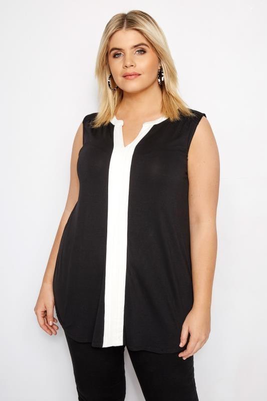 Plus Size Jersey Tops Black Pintuck Top