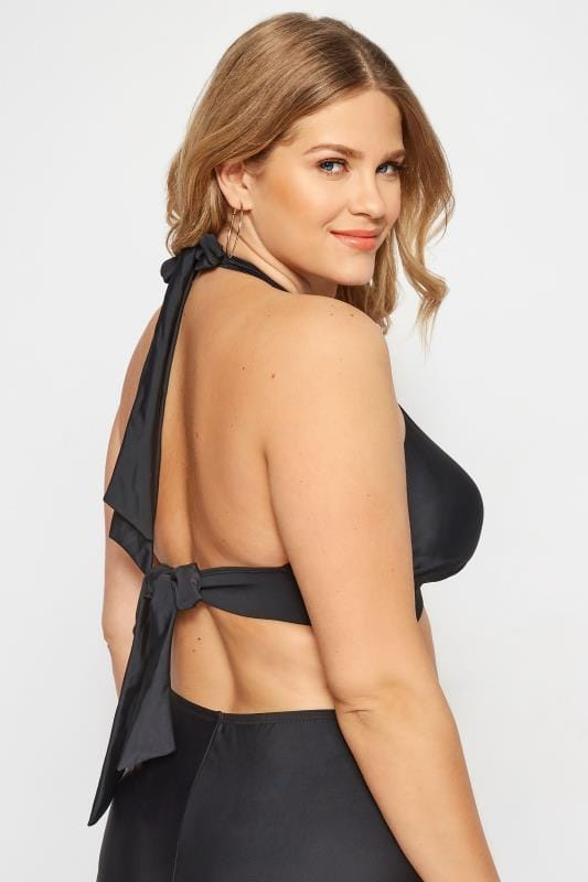 Black Piped Halterneck Bikini Top