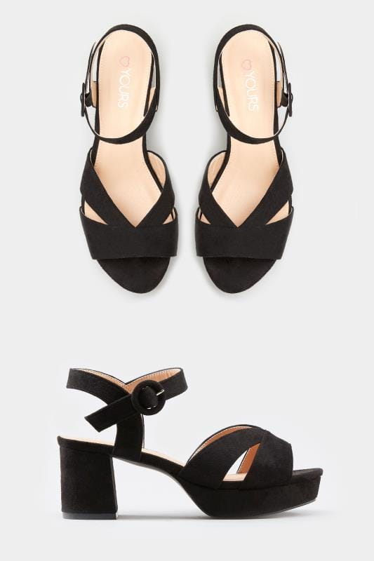 Black Platform Heeled Sandals In Extra Wide Fit