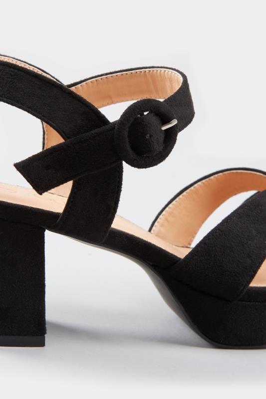 Black Platform Heeled Sandals In Extra Wide Fit