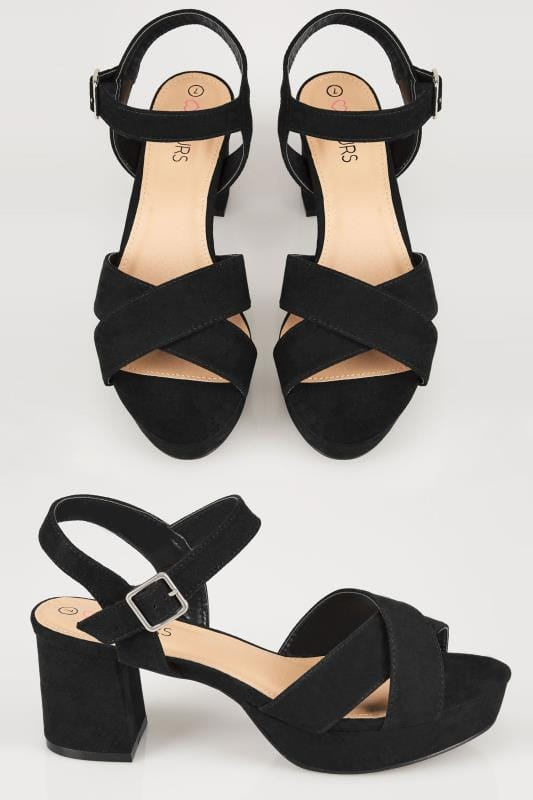 best quality new design cheap prices Black Cross Front Heeled Platform Sandals In EEE Fit