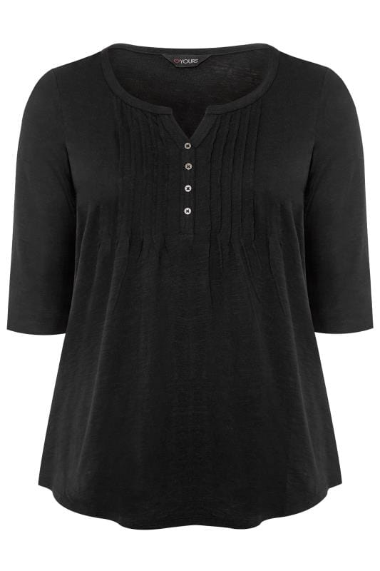 Black Pleated Henley Top