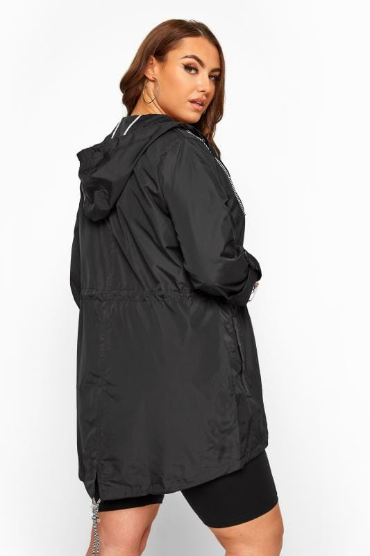 Black Pocket Parka With Contrast Drawstrings