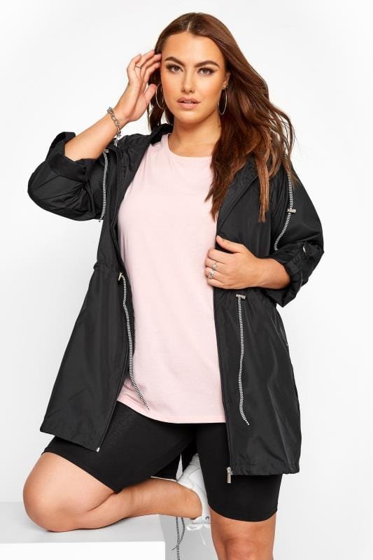 Plus Size Parka Coats Black Pocket Parka With Contrast Drawstrings
