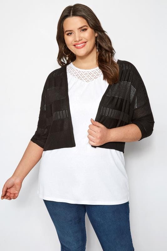 Black Pointelle Cropped Cardigan