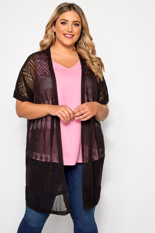 Plus Size Cardigans Black Pointelle Knit Cardigan