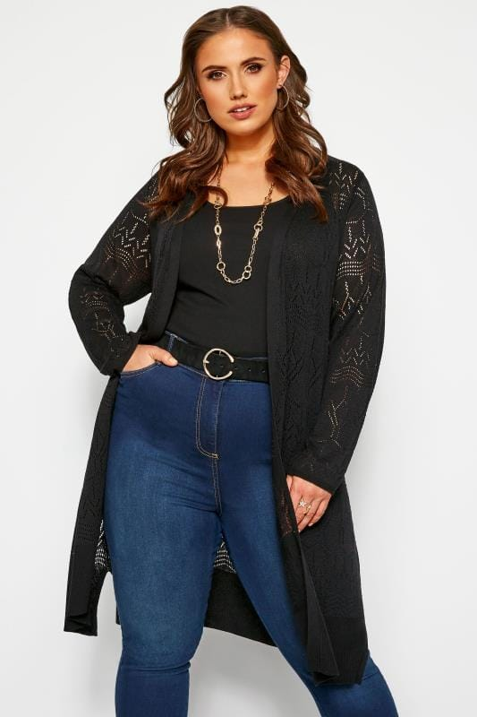 Plus Size Cardigans Black Pointelle Stitch Midi Cardigan