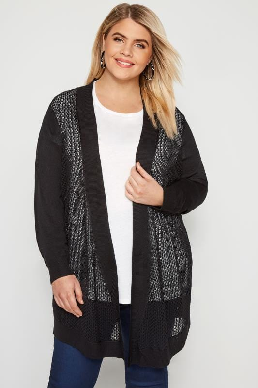 Pointelle Strickjacke - Schwarz