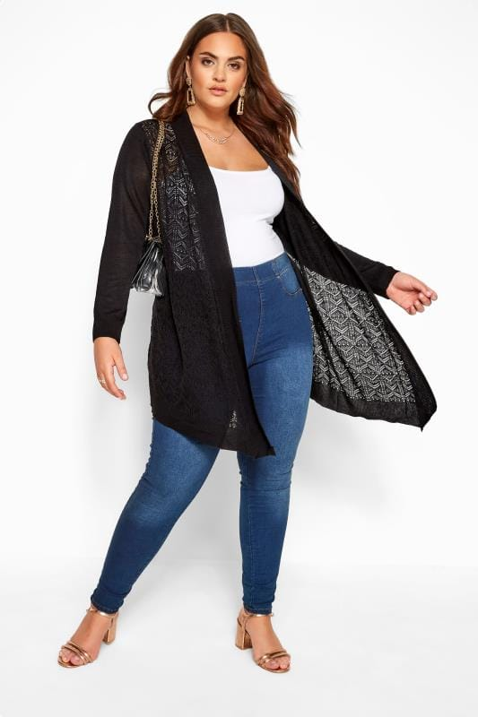 Black Pointelle Waterfall Cardigan