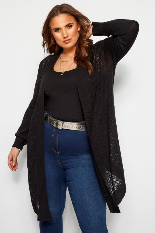 Plus Size Cardigans Black Pointelle Waterfall Cardigan