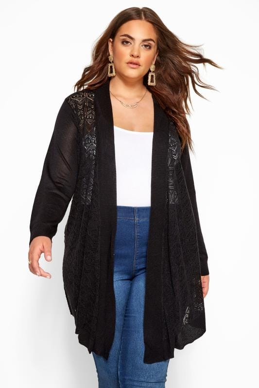 Cardigans Grande Taille Black Pointelle Waterfall Cardigan