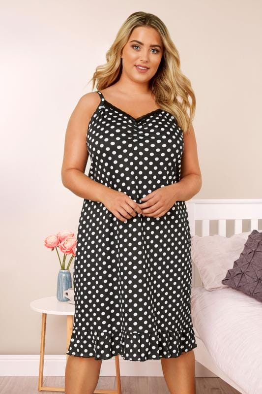 Plus Size Nightdresses & Chemises Black Polka Dot Chemise