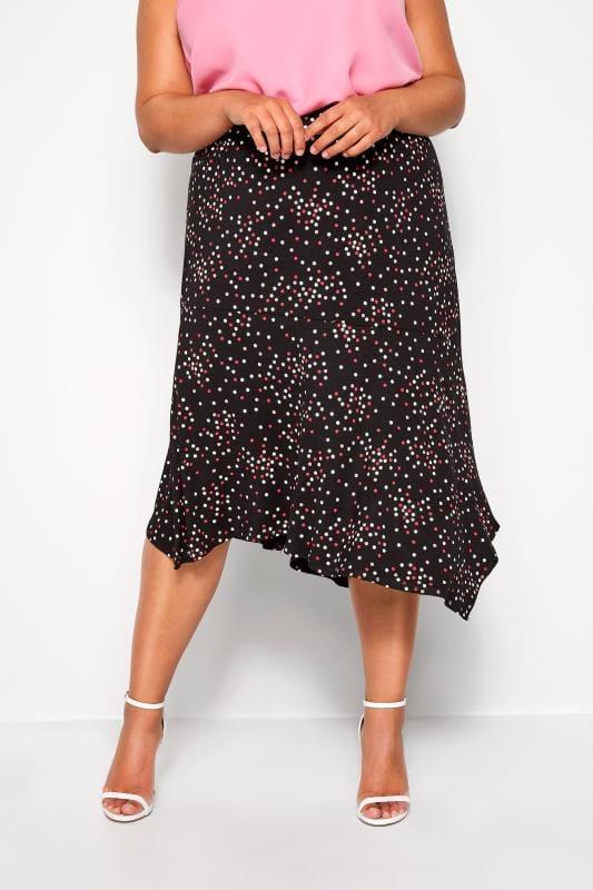 Plus Size Elasticated Waist Skirts Black Polka Dot Jersey Midi Skirt
