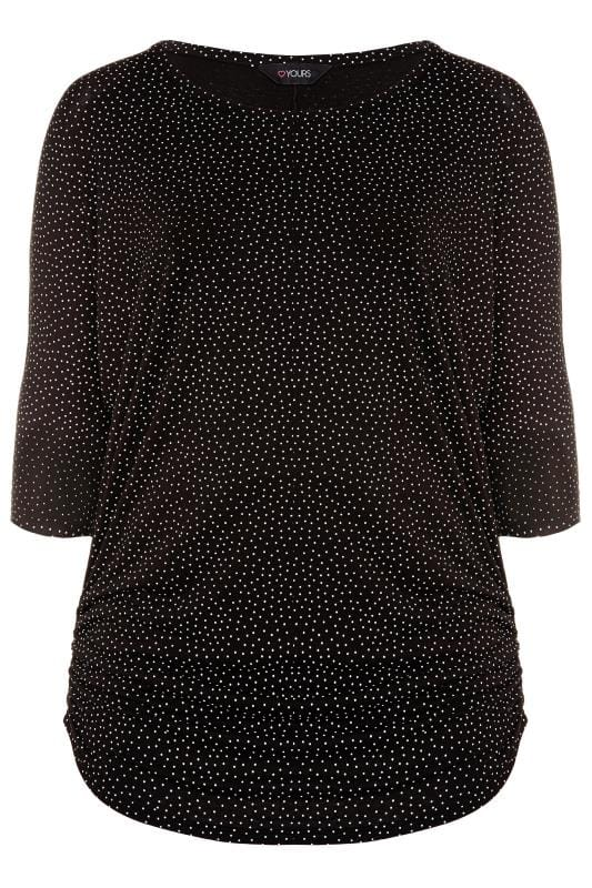 Plus Size Jersey Tops Black Polka Dot Ruched Side Top