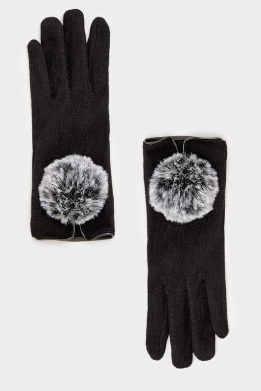 Handschuhe mit Bommel-Verzierung - Schwarz