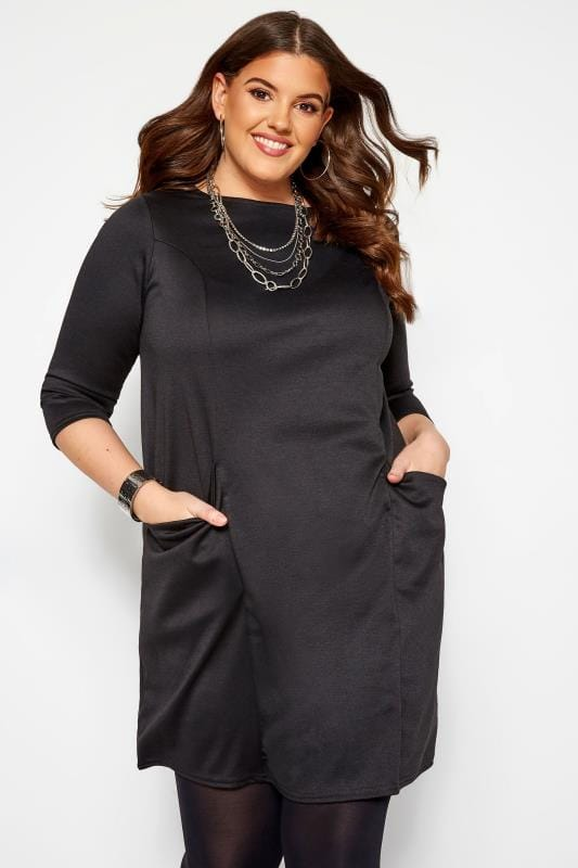 Plus Size Black Dresses Black Ponte Drape Pocket Dress
