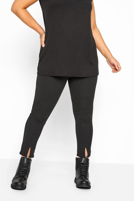 Black Ponte Tapered Split Hem Trousers