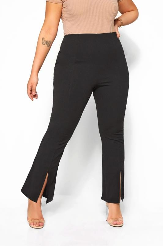 Black Ponte Wide Leg Split Hem Trousers