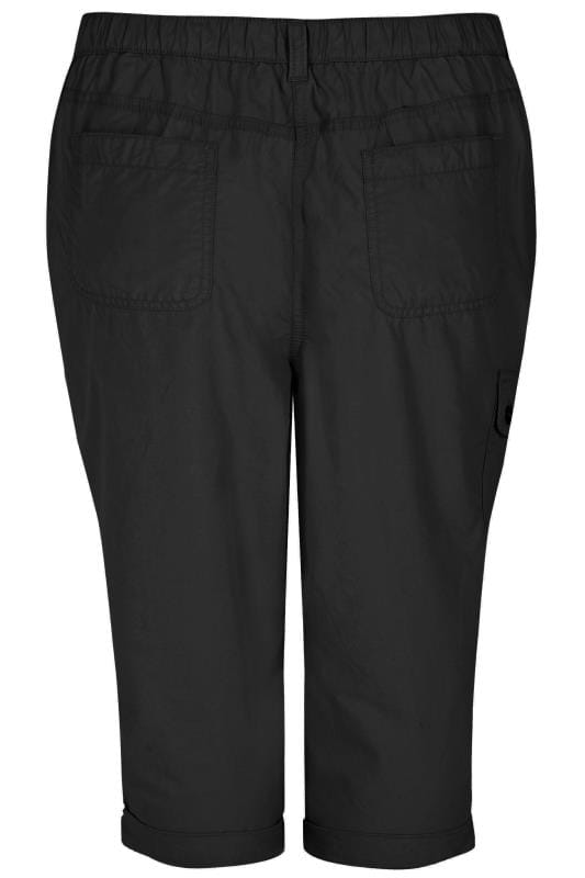Black Poplin Cropped Trousers