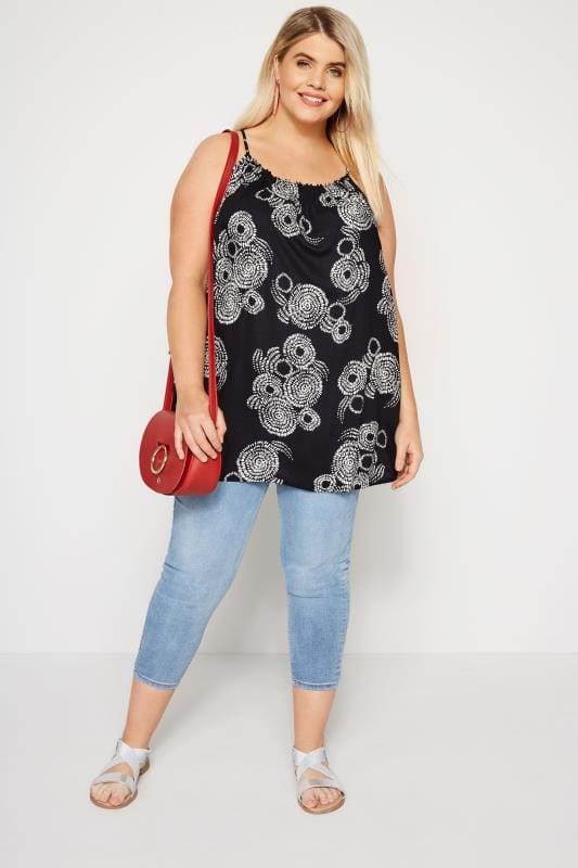 Black Printed Cross Back Vest Top