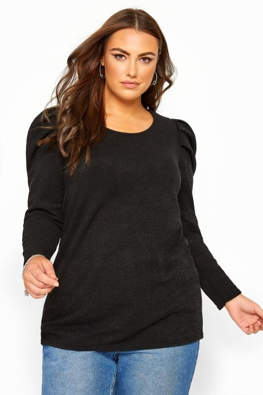 Plus Size Knitted Tops Black Puff Shoulder Knitted Top