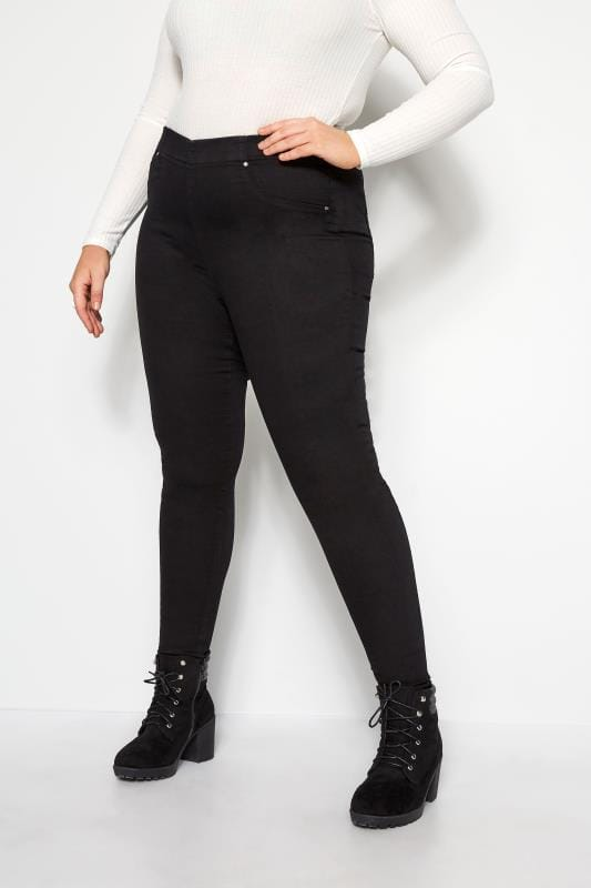 Plus Size Jeggings Black Pull On JENNY Jeggings