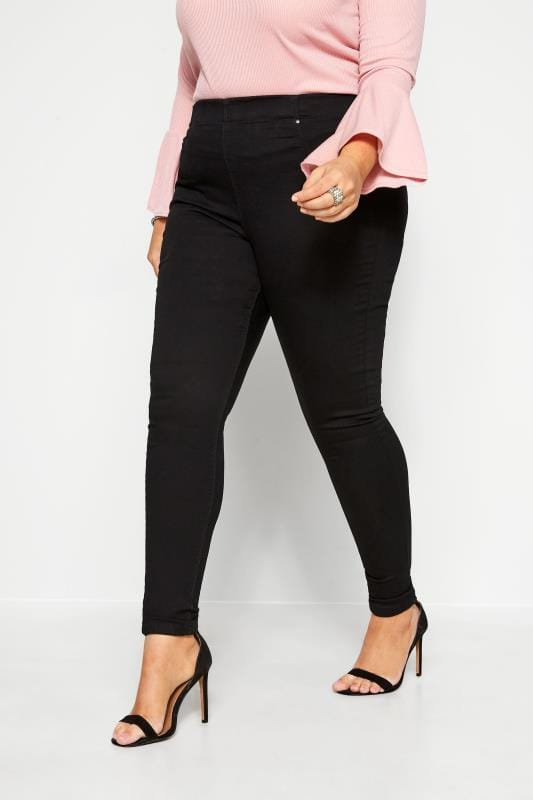 Jeggings dla puszystych Black Pull On JENNY Jeggings