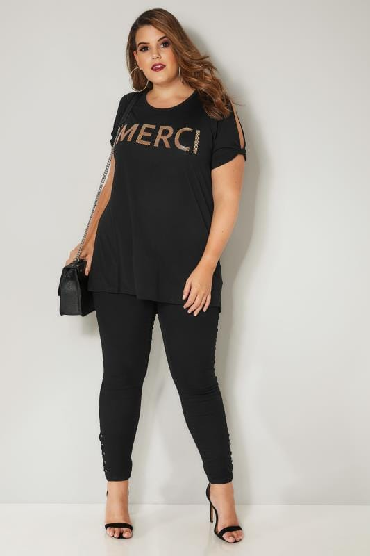 Black Pull On JENNY Jeggings With Eyelet Detail