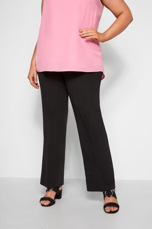 Plus Size Bootcut Pants Black Pull On Ribbed Bootcut Trousers - PETITE