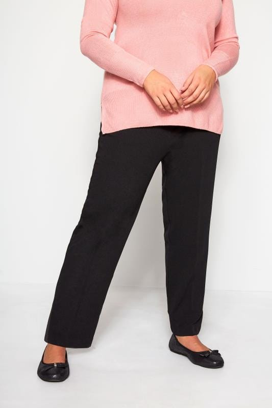 Plus Size Bootcut Trousers Black Pull On Ribbed Bootcut Trousers - PETITE