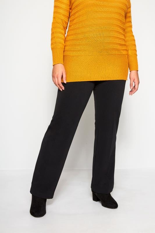 Plus Size Bootcut Trousers Black Pull On Ribbed Bootcut Trousers
