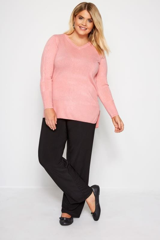 Black Pull On Wide Leg Trousers