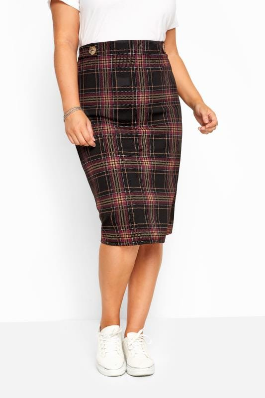 Black & Purple Check Button Midi Skirt