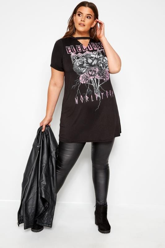 Black & Purple Choker Rock Slogan T-Shirt