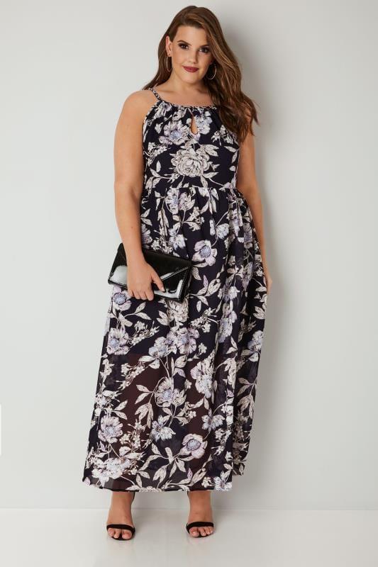 Black & Purple Floral Maxi Dress With Grecian Halter ...
